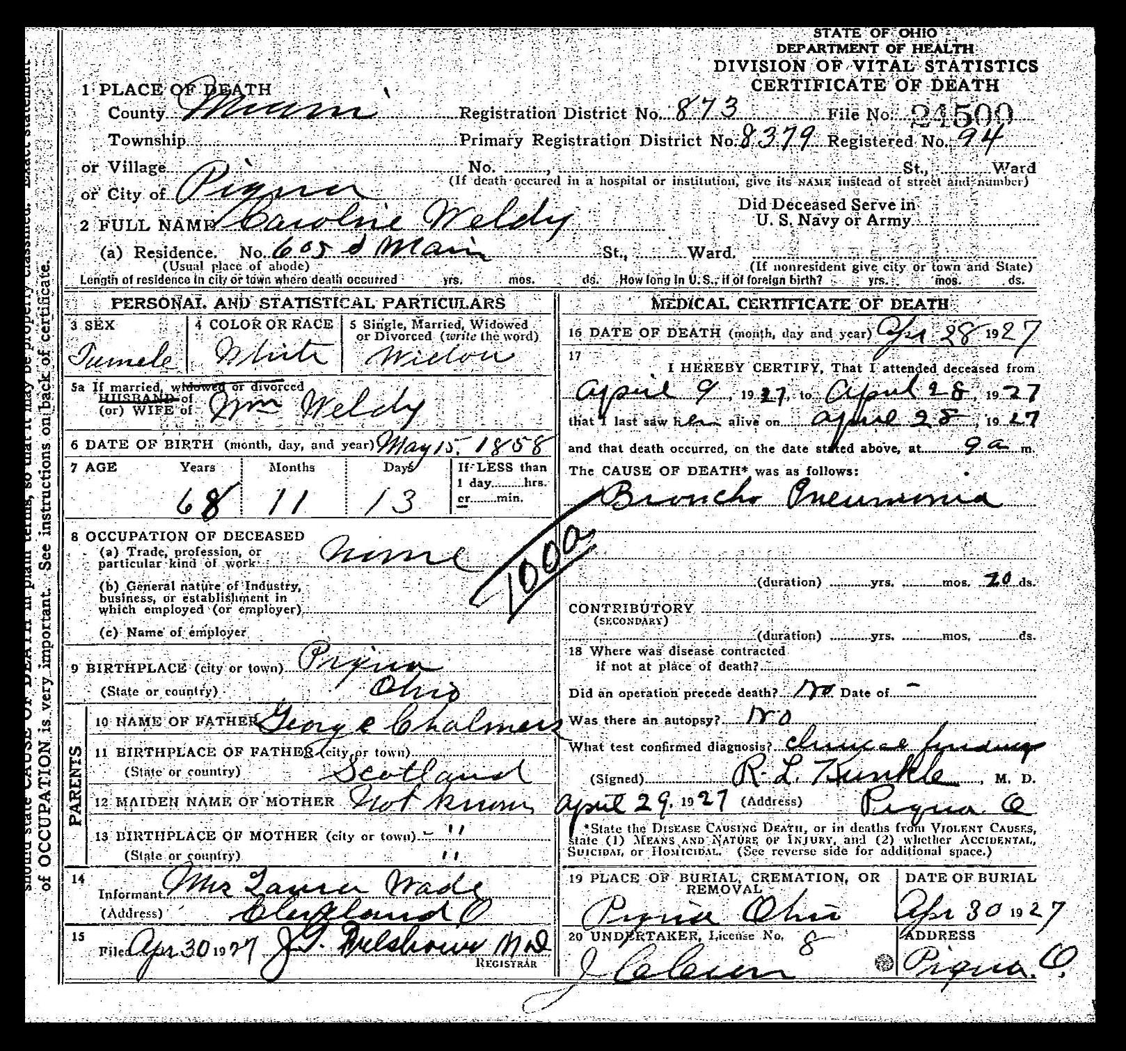 Chalmers fgs death certificate ohio department of health death certificate file number 24500 1927 caroline weldy division of vital statistics columbus aiddatafo Image collections